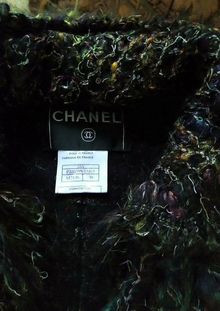Chanel 2003 03A Rainbow Multi Color Mohair Tweed Fringe Jacket FR 38/ US 4 6 6
