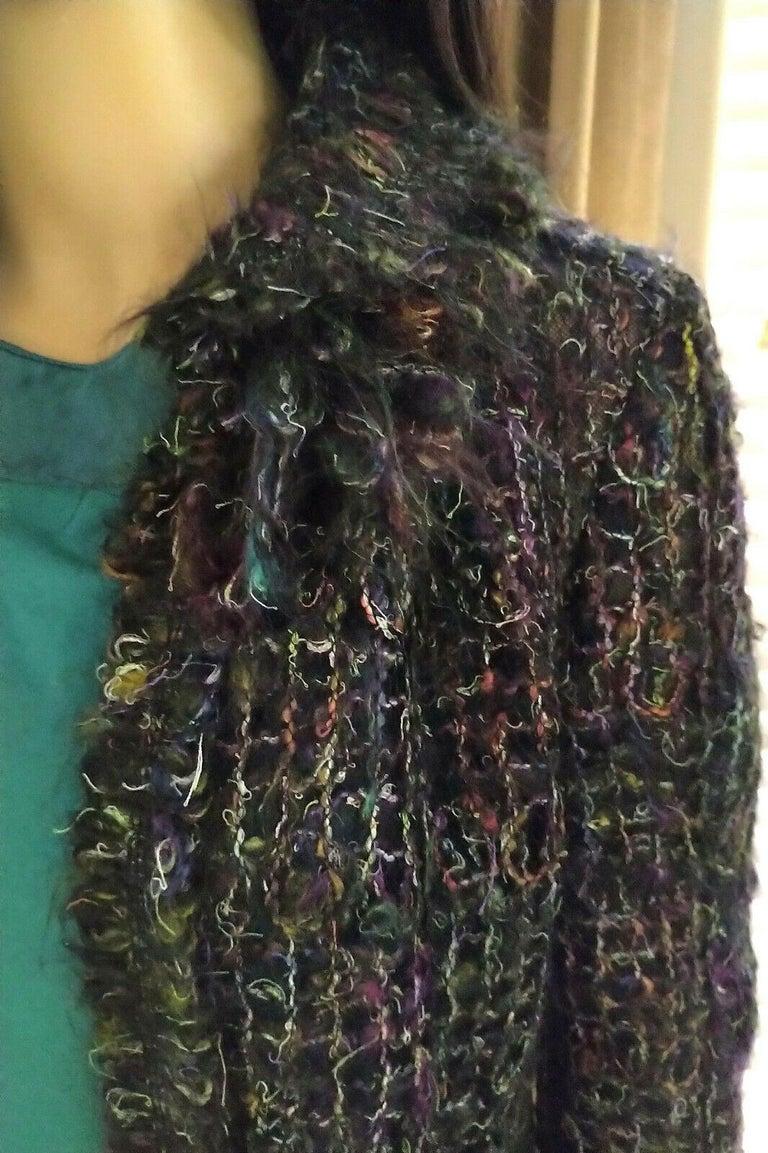 Black Chanel 2003 03A Rainbow Multi Color Mohair Tweed Fringe Jacket FR 38/ US 4 6