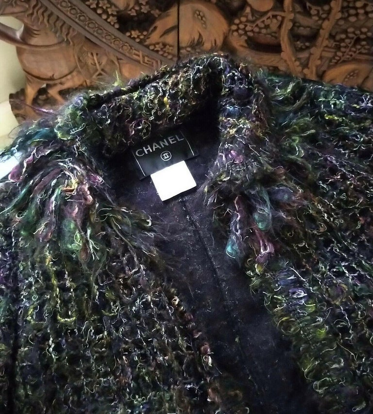 Chanel 2003 03A Rainbow Multi Color Mohair Tweed Fringe Jacket FR 38/ US 4 6 In Good Condition In Ormond Beach, FL