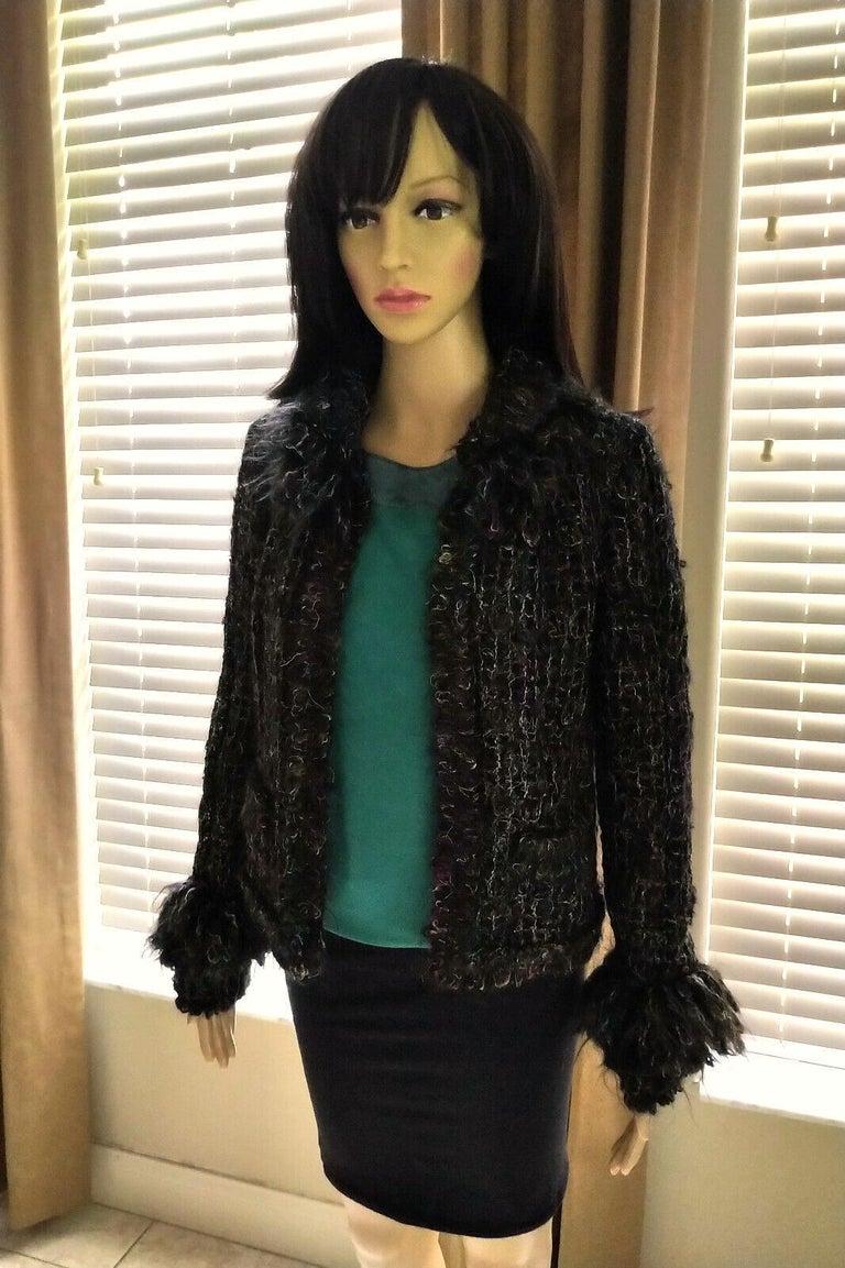 Chanel 2003 03A Rainbow Multi Color Mohair Tweed Fringe Jacket FR 38/ US 4 6 5