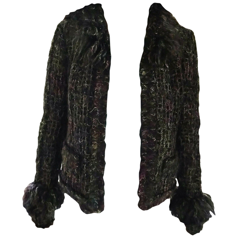 Chanel 2003 03A Rainbow Multi Color Mohair Tweed Fringe Jacket FR 38/ US 4 6