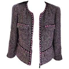 Chanel 2003 03P Pink, Plum, Violet, Rosette Fantasy Tweed Jacket FR 38/ US 4 6