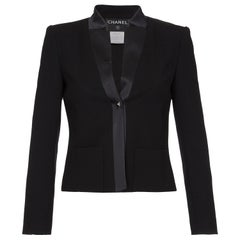 Chanel 2003 Black Silk Crepe Jacket With Silk Trim
