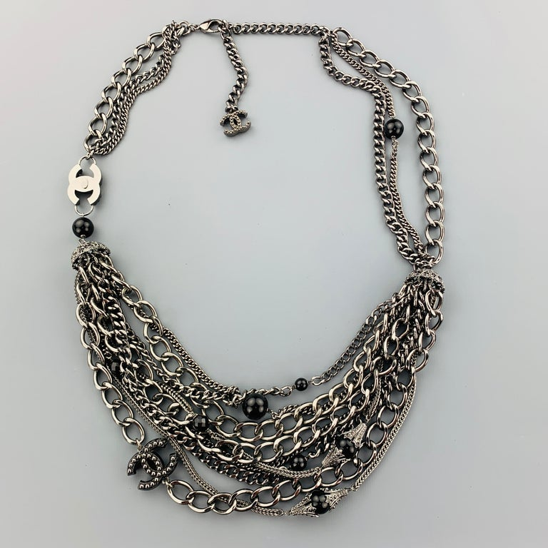 CHANEL 2003 Silver Tone Metal Multi Strand Layered Chain Statement Necklace For Sale 6