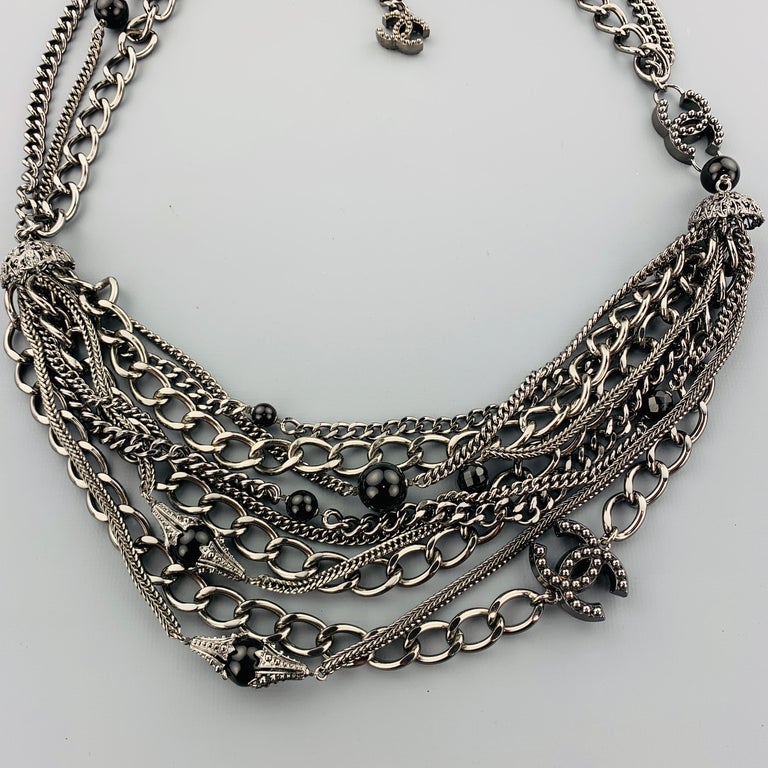CHANEL 2003 Silver Tone Metal Multi Strand Layered Chain Statement Necklace For Sale 1