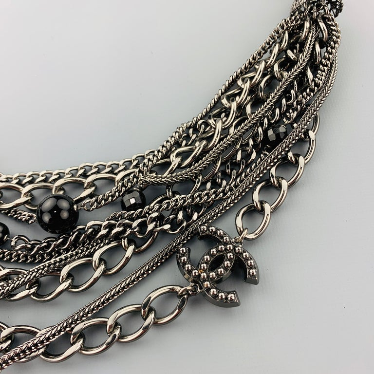 CHANEL 2003 Silver Tone Metal Multi Strand Layered Chain Statement Necklace For Sale 2