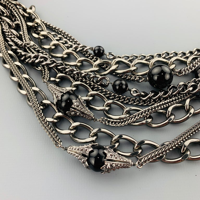 CHANEL 2003 Silver Tone Metal Multi Strand Layered Chain Statement Necklace For Sale 3