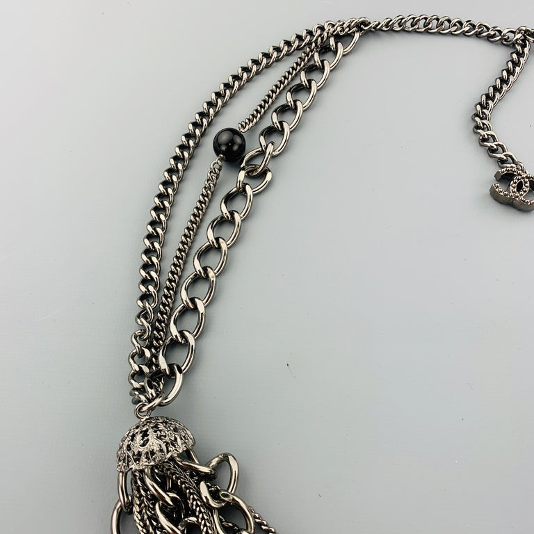 CHANEL 2003 Silver Tone Metal Multi Strand Layered Chain Statement Necklace For Sale 4