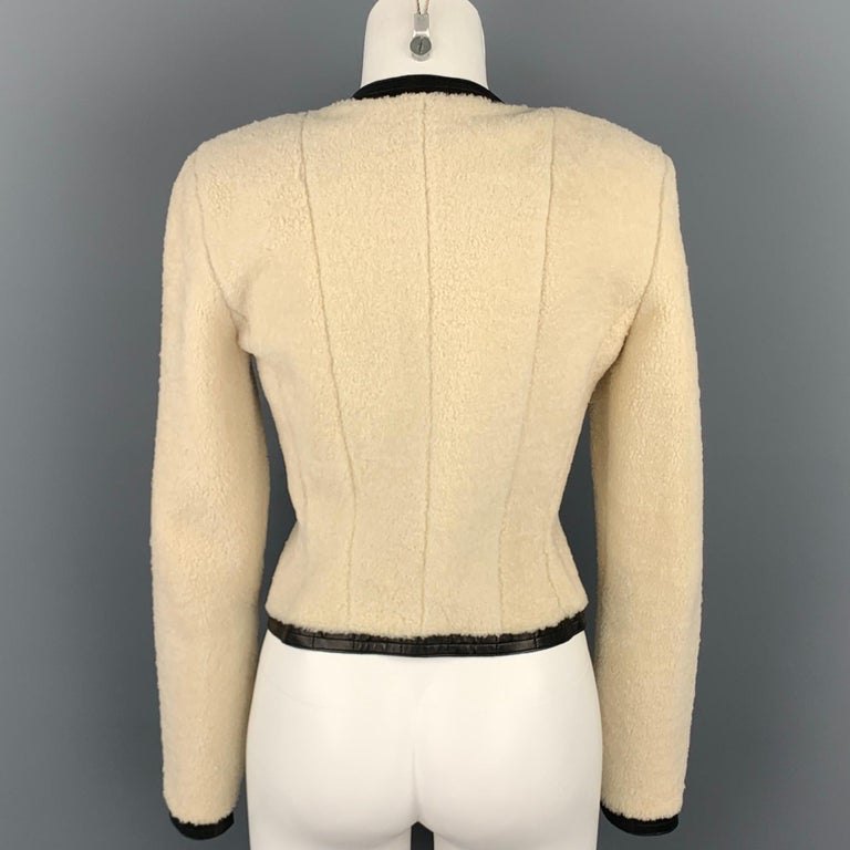 CHANEL 2003 Size 6 Cream & Black Shearling Leather Lamb Skin Jacket In Good Condition For Sale In San Francisco, CA
