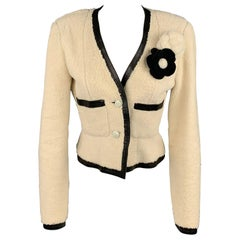 CHANEL 2003 Size 6 Cream & Black Shearling Leather Lamb Skin Jacket