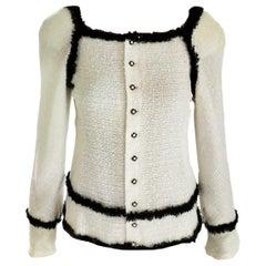 Chanel 2004 04P Ivory Sequin Tweed & Black Fringe Top Jacket FR 36/ US 2 4