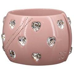 Chanel 2004 Pink Clamper Cuff Bracelet w/Crystal Heart Motif