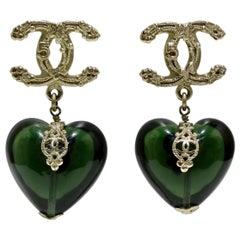 Chanel 2006 CC Gripox Heart Earrings