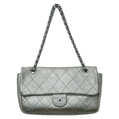 Chanel 2006 Distressed Gold Single Flap Bag with Ruthenium Hardware