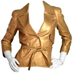 Chanel 2006 Gold Leather Single Button Jacket w. Belt FR38/ US 4-6