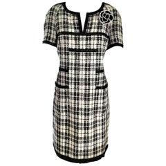 Chanel 2007 07P Black & White Fantasy Tweed & Patent Trim Dress FR 40/ US 8
