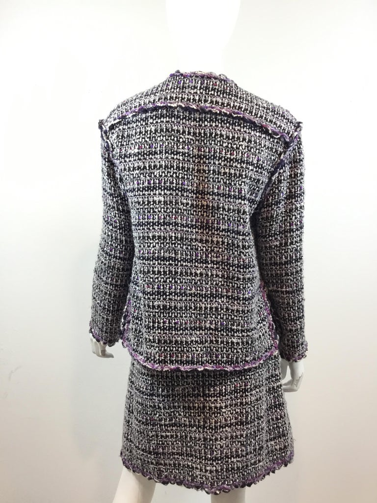 Chanel 2007 C Purple Fantasy Tweed Skirt Suit In Excellent Condition For Sale In Carmel by the Sea, CA