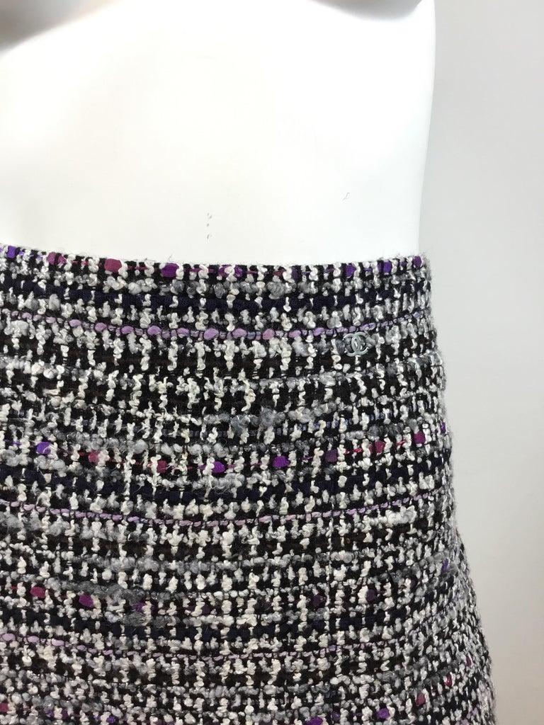 Chanel 2007 C Purple Fantasy Tweed Skirt Suit For Sale 1
