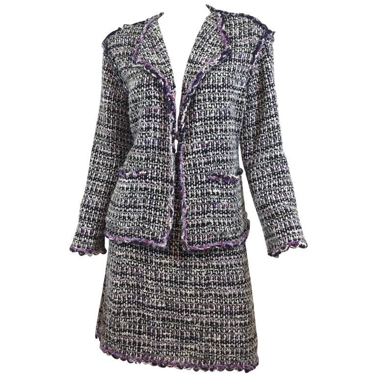 Chanel 2007 C Purple Fantasy Tweed Skirt Suit For Sale