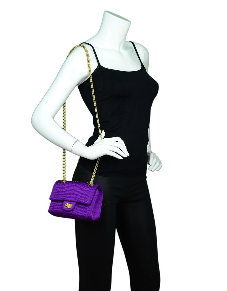 Chanel, 2007, Purple Satin Croc Quilted Embroidered 2.55 Reissue 224 Double Flap Crossbody Bag  Made In: France Year of Production: 2007 Color: Purple and gold Hardware: Goldtone Materials: Satin and metal Lining: light purple textile