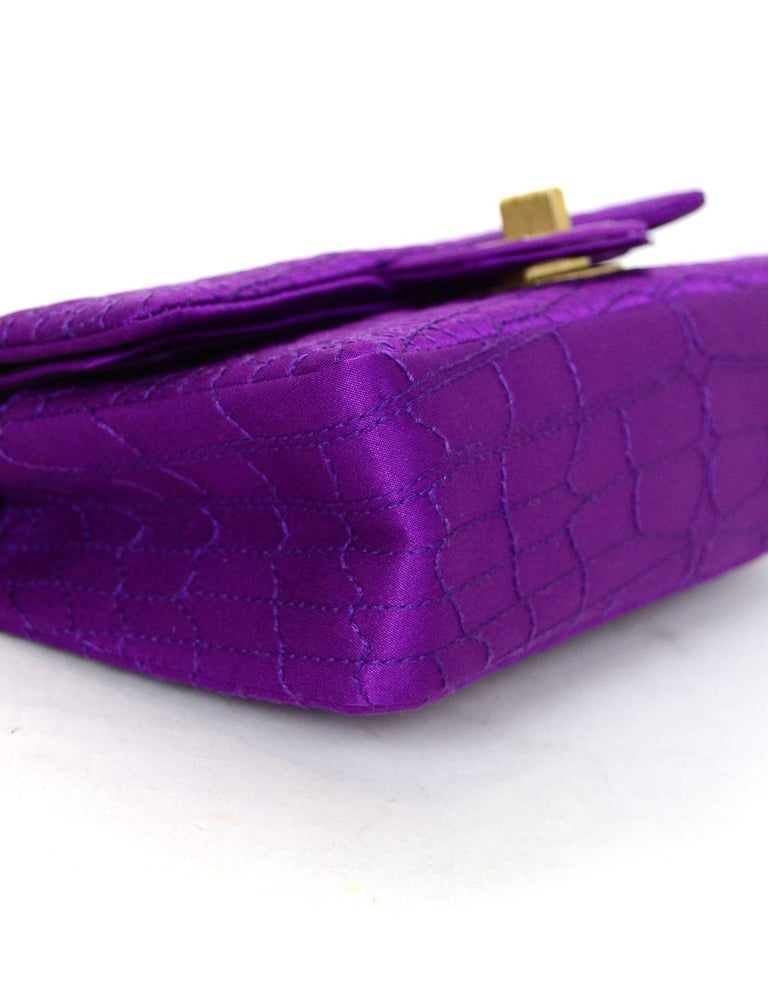Women's Chanel 2007 Purple Satin Croc Embroidered 2.55 Reissue 224 Crossbody Flap Bag For Sale