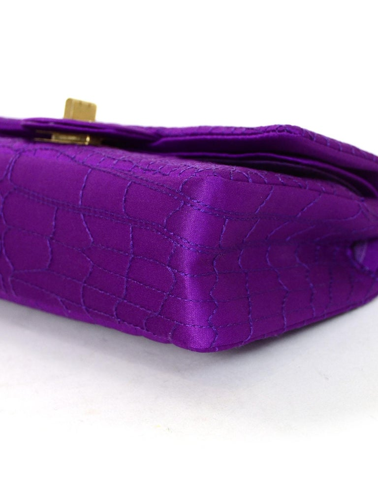 Chanel 2007 Purple Satin Croc Embroidered 2.55 Reissue 224 Crossbody Flap Bag For Sale 1