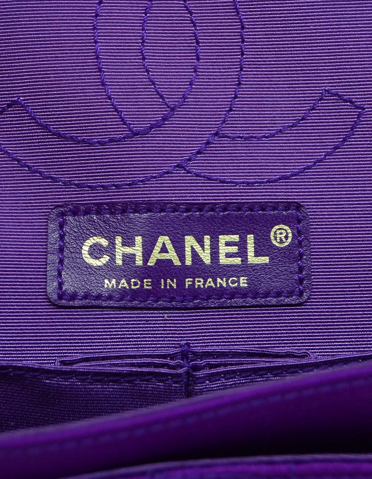 Chanel 2007 Purple Satin Croc Embroidered 2.55 Reissue 224 Crossbody Flap Bag For Sale 3