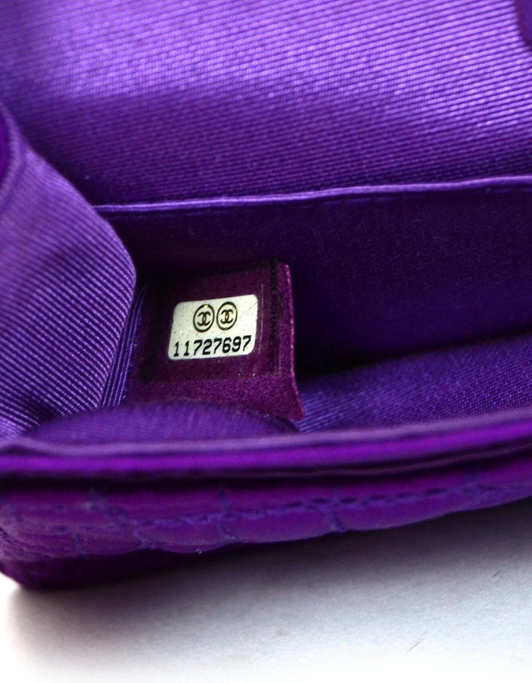 Chanel 2007 Purple Satin Croc Embroidered 2.55 Reissue 224 Crossbody Flap Bag For Sale 4