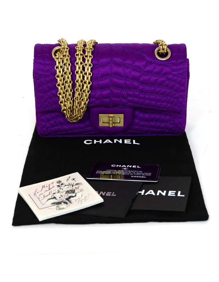 Chanel 2007 Purple Satin Croc Embroidered 2.55 Reissue 224 Crossbody Flap Bag For Sale 5