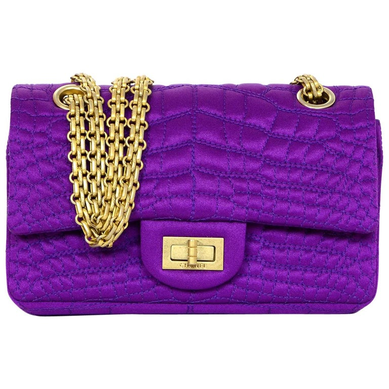 Chanel 2007 Purple Satin Croc Embroidered 2.55 Reissue 224 Crossbody Flap Bag For Sale