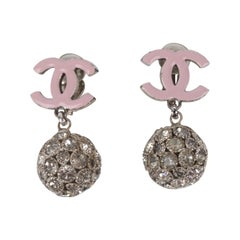 Chanel 2008 Cruise Collection Pastel Pink Logo Silver Rhinestone Crystal Earring