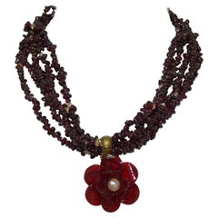 Chanel 2009 A Maroon Gripoix Multistrand Necklace with Pearl