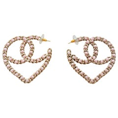 Chanel 2009 Cruise Collection Satin Ribbon Heart Earrings