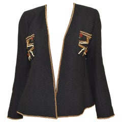 Chanel 2009 Moscow Black Jacket with Chain Jewel