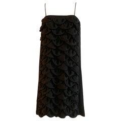 Chanel 2009 Swim Cover Up Black Petal Textured Spaghetti Strap Mini Dress