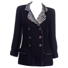 Chanel 2010 Shanghai Collection Black Silk Wool Blend Holographic Sequins Jacket