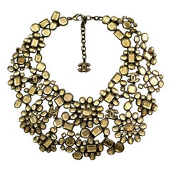 Chanel 2010 Taupe Glass CC Floral Bib Collar Statement Necklace rt. $11,00