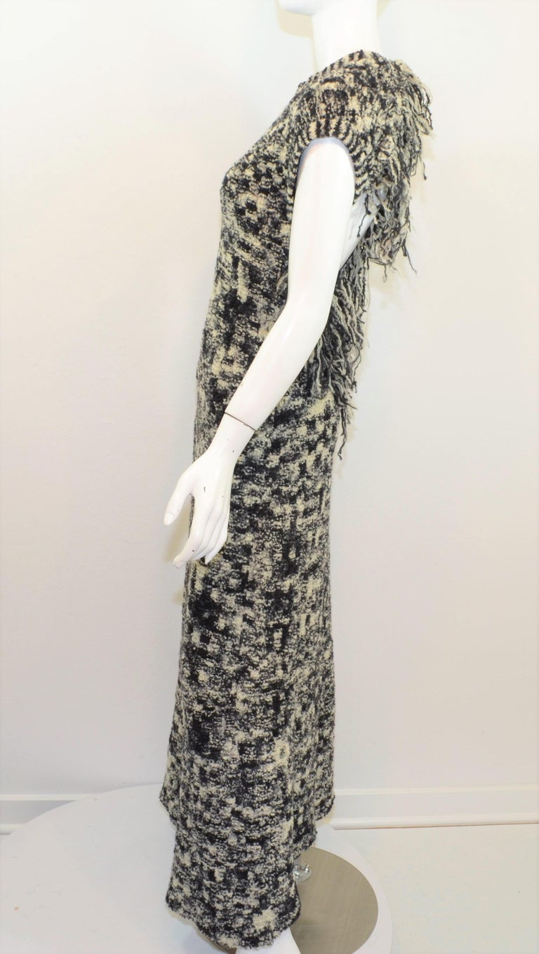 Chanel 2011 Fall/Winter Collection Black & White Boucle Knit Maxi Gown In Excellent Condition For Sale In Carmel by the Sea, CA