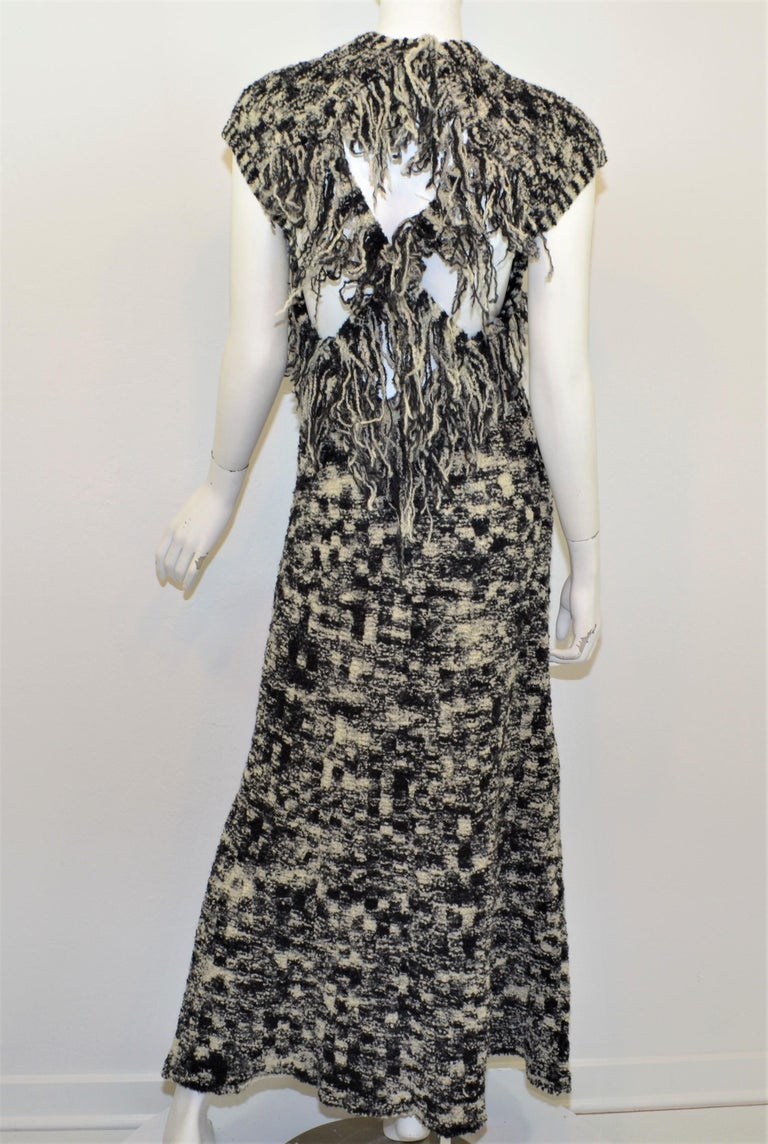 Women's Chanel 2011 Fall/Winter Collection Black & White Boucle Knit Maxi Gown For Sale