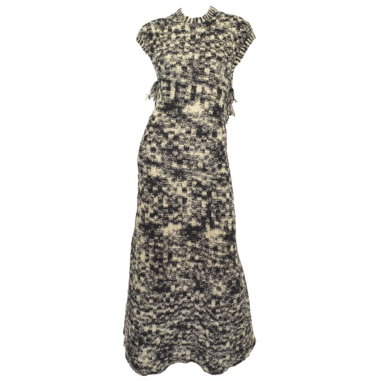 Chanel 2011 Fall/Winter Collection Black & White Boucle Knit Maxi Gown For Sale