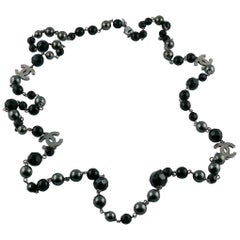 Chanel 2011 Grey Pearl and Black Bead Logo Necklace