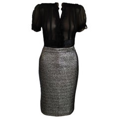 Chanel 2012 12A Paris-Bombay Metallic Platinum Black Pencil Skirt FR 40/ 42 US 8