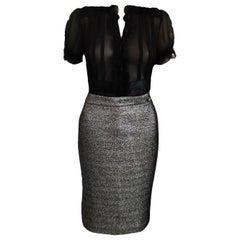 Chanel 2012 12A Paris-Bombay Metallic Platinum Black Pencil Skirt FR 40/ 42 US 8