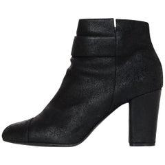 Chanel 2012 Black Suede Heeled Booties W/ CC Sz 42