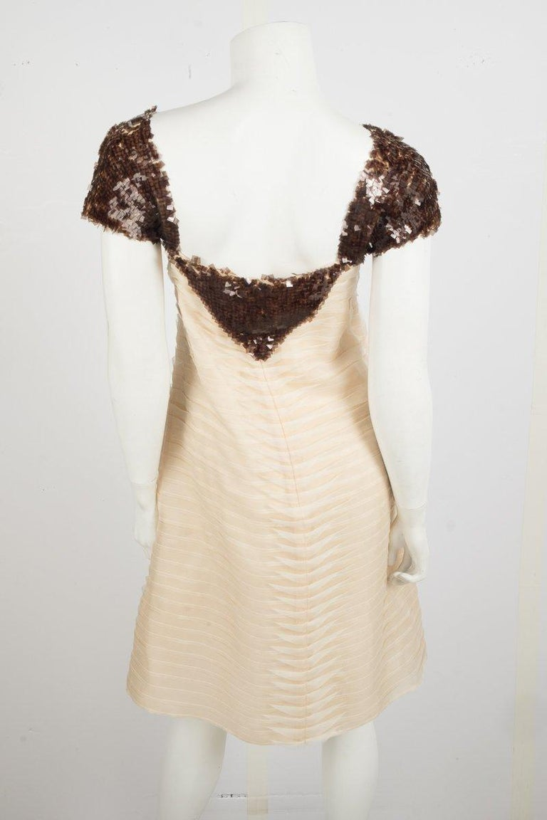 Beige Chanel  2012 Runway Cream Sequins Embellish Silk Dress For Sale