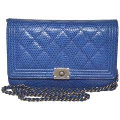 Chanel 2013-14 Blue Lizard BOY Wallet On a Chain