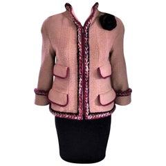 Chanel 2014 14K Camel Tan Supermarket Tweed Jacket Blazer FR 34/ US 2