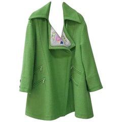 Chanel 2014-2015 Oversize  Apple Green Wool Coat