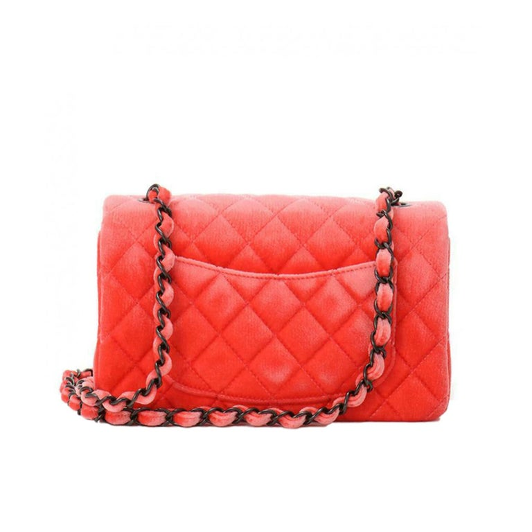 Red Chanel 2014 Coral Velvet Small Medium So Black CC Classic Flap For Sale