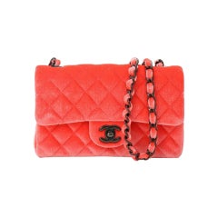 Chanel 2014 Coral Velvet Small Medium So Black CC Classic Flap